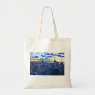 Late afternoon NYC Skyline as sunset approaches W Tote Bag