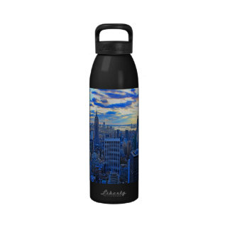 Late afternoon NYC Skyline as sunset approaches W Reusable Water Bottle