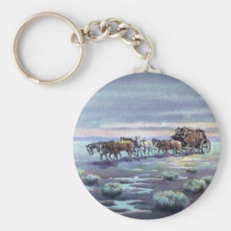 LATE AFTERNOON STAGECOACH by SHARON SHARPE Keychain