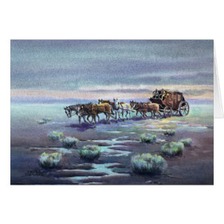LATE AFTERNOON STAGECOACH by SHARON SHARPE Stationery Note Card