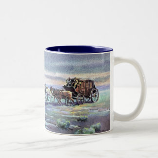 LATE AFTERNOON STAGECOACH by SHARON SHARPE Two-Tone Coffee Mug