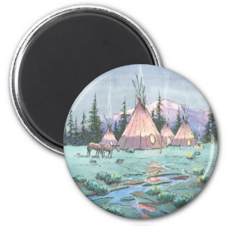 LATE AFTERNOON TIPI CAMP by SHARON SHARPE Magnet
