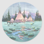 LATE AFTERNOON TIPI CAMP by SHARON SHARPE Round Sticker