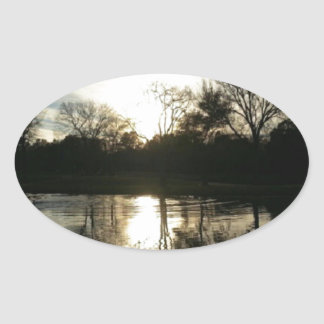 Late at the Lake (Nature & Landscape) Oval Sticker