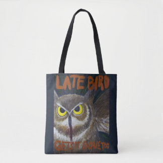 Late Bird Owl Motivational Painting Tote