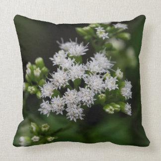 Late Boneset White Wildflower Throw Pillow
