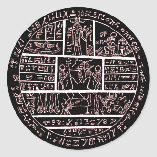 late demotic egyptian amulet classic round sticker