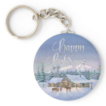 LATE EVENING ARRIVAL by SHARON SHARPE Keychain