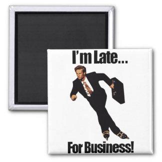 Late For Business Rollerblade Skater Meme 2 Inch Square Magnet
