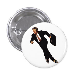 Late For Business Rollerblade Skater Meme Button