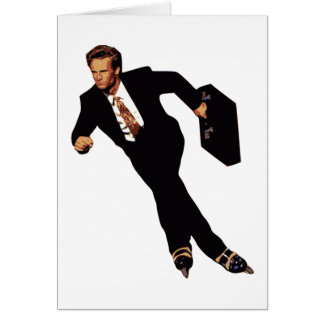 Late For Business Rollerblade Skater Meme Card