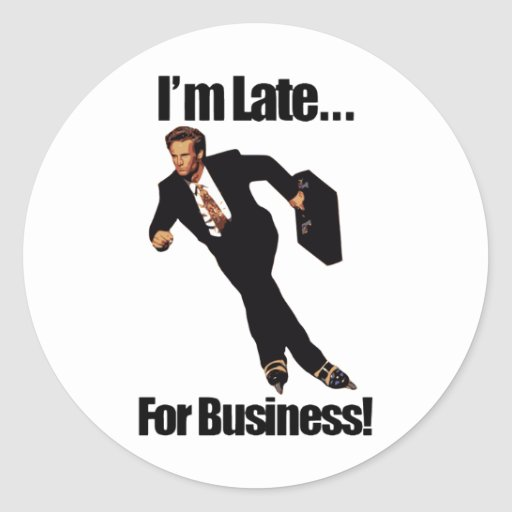 Late For Business Rollerblade Skater Meme Round Stickers