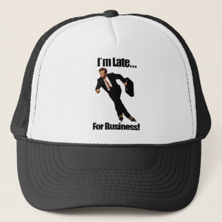 Late For Business Rollerblade Skater Meme Trucker Hat