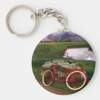 Late for evening prayer- The red bike. Keychain