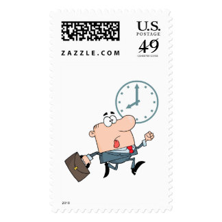 late for work funny cartoon postage stamp