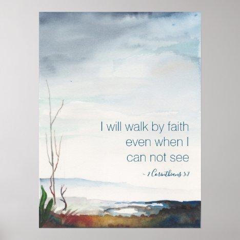 Late New England Fall Spiritual Watercolor Poster
