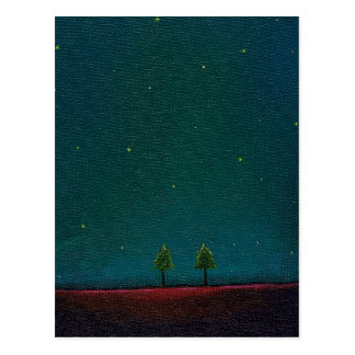 Late Night Meeting dark starry sky nature tree art Postcard