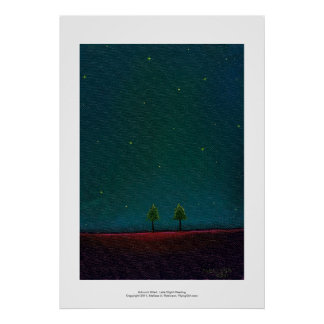 Late Night Meeting dark starry sky nature tree art Poster