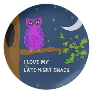 Late-Night Snack Plate with Tired Owl