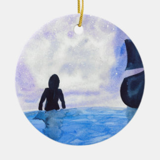 Late Night Swim Ceramic Ornament