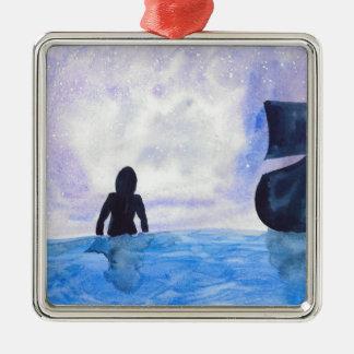 Late Night Swim Metal Ornament