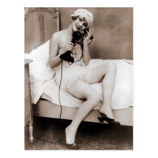 Late night talk on the telephone before bed postcard