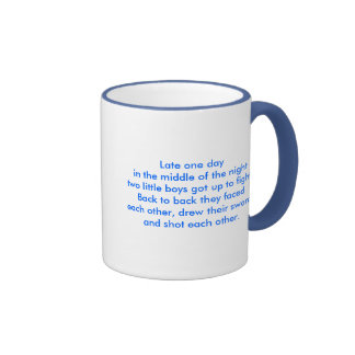 Late one day in the middle of the nighttwo litt... ringer coffee mug