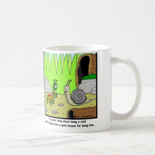 Late: Snail Cartoon Mugs