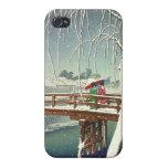Late Snow Along Edo River Hasui Kawase winter art iPhone 4 Covers