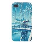 Late Snow Along Edo River hasui kawase winter art iPhone 4 Cover