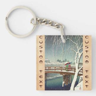 Late Snow Along Edo River Hasui Kawase winter art Keychain