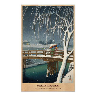 Late Snow Along Edo River hasui kawase winter art Poster