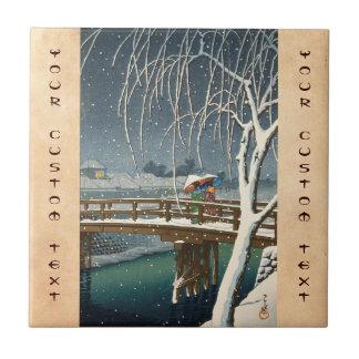Late Snow Along Edo River hasui kawase winter art Tile