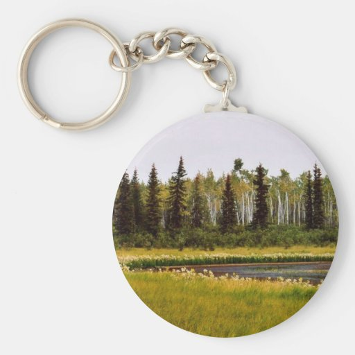 Late summer vegetation around a small lake basic round button keychain