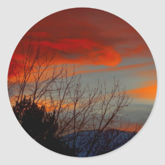 Late winter sunset classic round sticker