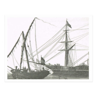 Lateen and square rigged ships 1800s postcard