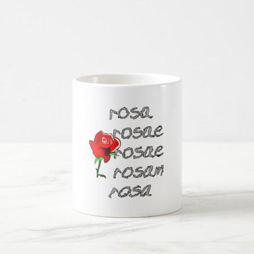 Latein subió la declinación color de rosa latina d taza básica blanca