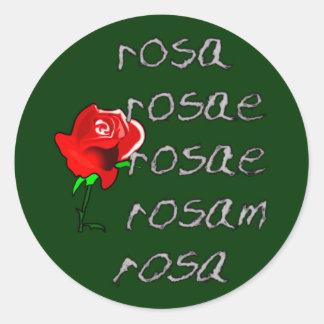 Latein subió la declinación color de rosa latina pegatina redonda