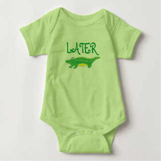 Later Gator Green Yellow Alligator Croc Crocodile Baby Bodysuit