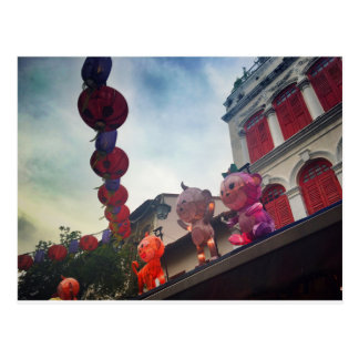 Laterns and Monkeys in Chinatown, Singapore Postcard