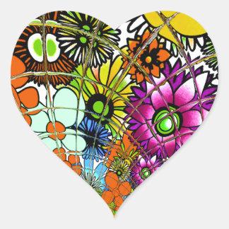 Latest colorful amazing floral pattern design art. heart sticker