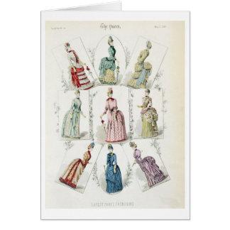 Latest Paris Fashions, nine day dresses in a fashi Greeting Card