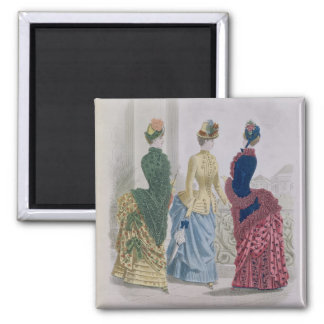 Latest Paris Fashions, three day dresses in a fash 2 Inch Square Magnet