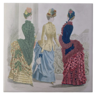 Latest Paris Fashions, three day dresses in a fash Ceramic Tile