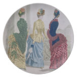Latest Paris Fashions, three day dresses in a fash Melamine Plate