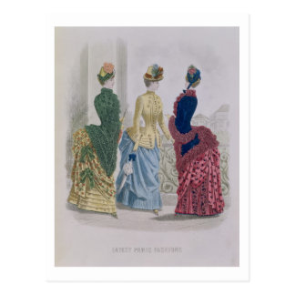 Latest Paris Fashions, three day dresses in a fash Postcard