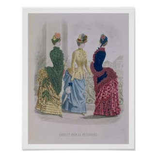 Latest Paris Fashions, three day dresses in a fash Poster