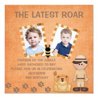 Latest Roar Safari Theme Photo Birthday Invitation