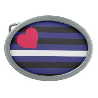 Látex de cuero y bandera del orgullo de BDSM Hebillas De Cinturón Ovales