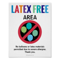Latex Free Area Classroom Building No Balloons Poster
